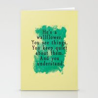 the perks of being a wallflower Stationery Cards featuring Wallflower by green.lime