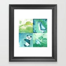 Chameleon, Bird, Penguin and Panda Bear Framed Art Print