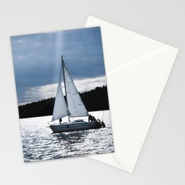 Blue moon light night sailing Stationery Cards