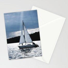 Blue moon light night sailing Stationery Cards