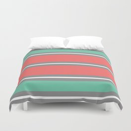 Minimal Abstract Lucite green, Coral, Grey, Honey, and White 01 Duvet Cover