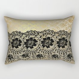 Black floral luxury lace on gold damask pattern Rectangular Pillow
