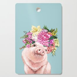 Flower Crown Baby Pig in Blue Cutting Board