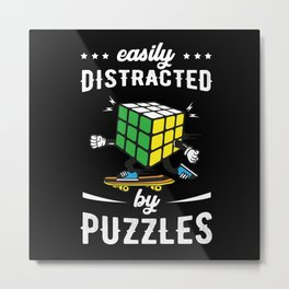 Easily Distracted By Puzzles Metal Print