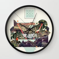 island Wall Clocks featuring island Vacation by Dawn Gardner