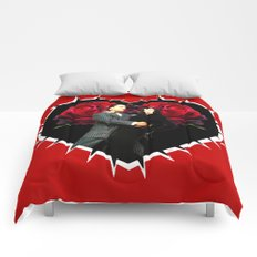 Gomez and Morticia Thorny Heart Comforters
