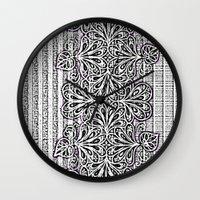 newspaper Wall Clocks featuring Newspaper Stripe by Vikki Salmela
