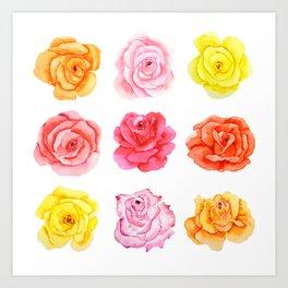 9 watercolor roses Art Print