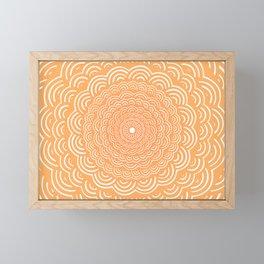 Spiral Mandala (Peach Orange) Curve Round Rainbow Pattern Unique Minimalistic Vintage Zentangle Framed Mini Art Print