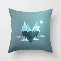 low poly Throw Pillows featuring Low Poly Polar Bear by scarriebarrie