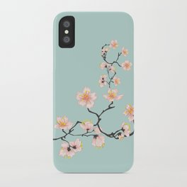 Sakura Cherry Blossoms x Mint Green iPhone Case