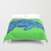 manatee Duvet Covers featuring blue manatee by Whimsy Notions Designs