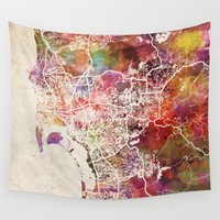 san diego Wall Tapestries featuring San Diego by MapMapMaps.Watercolors
