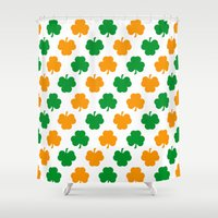 irish Shower Curtains featuring Irish Shamrocks by The Wellington Boot