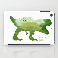 jurassic park iPad Cases featuring Jurassic Park minimalist Poster by LoweakGraph