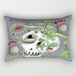skull pot with carnivorous plants Rectangular Pillow