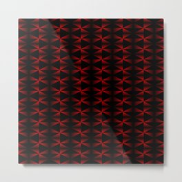 A vibrant grid of black rhombuses with intersecting red diagonal lines and triangles. Metal Print