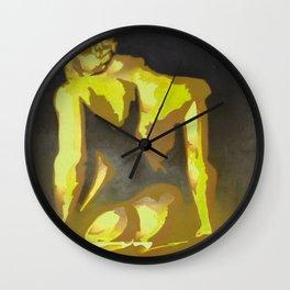 Beautiful Young Woman Wearing Plaits and Panties (Yellow) Wall Clock