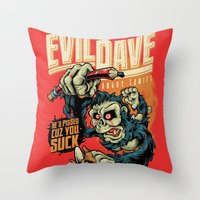 dave matthews Throw Pillows featuring Evil Dave by Bob Mosquito
