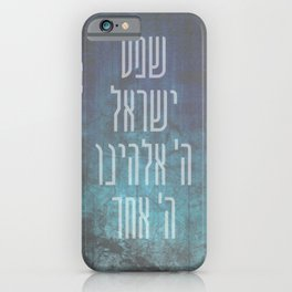 Shema Israel - Hebrew Jewish Prayer in Distressed Blue iPhone Case