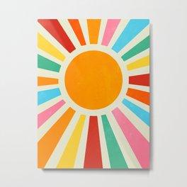 Retro Sunrise: Rainbow Edition Metal Print