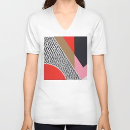 Pink Gold Red Abstract Unisex V-Neck