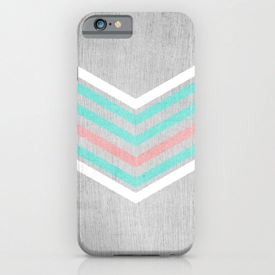 Teal, Pink and White Chevron on Silver Grey Wood iPhone & iPod Case