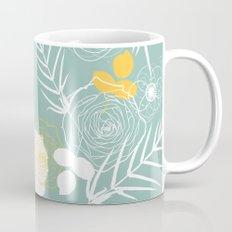 Aqua Retro Floral Mug