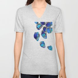 Blue And White Abstract Art - Falling 1 - Sharon Cummings Unisex V-Neck