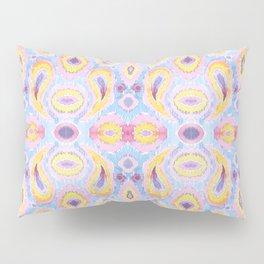 Ikat Paisley Blue and Magenta Pattern Pillow Sham