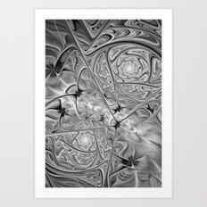 BW Fractal Art Print