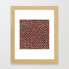 chocolate Glaze with sprinkles. Brown abstract background Framed Art Print