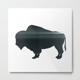 Buffalo print, Black & White Metal Print