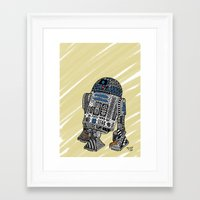 r2d2 Framed Art Prints featuring R2D2 by Rebecca Bear
