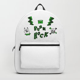 Punk rock on hand lightning and text.  Backpack