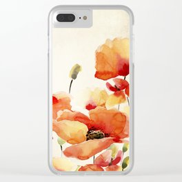Poppy Flower Meadow- Floral Summer lllustration Clear iPhone Case