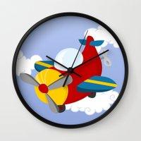 plane Wall Clocks featuring plane by Alapapaju