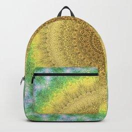Tie Dye Sunflower Cloth Woven Sun Ray Pattern \\ Yellow Green Blue Purple Color Scheme Backpack