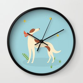 Borzoi And Butterfly Wall Clock