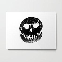 Glow skull Black Metal Print
