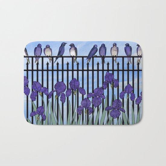 purple martins & purple irises Bath Mat