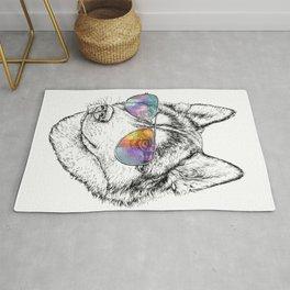 Husky Dog Graphic Art Print. Husky in glasses Rug