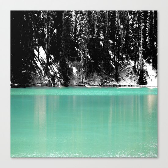 Green Water, Black and White Canvas Print