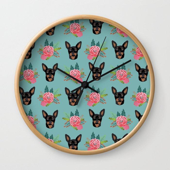 Min Pin miniature doberman pinscher dog breed dog faces cute floral dog pattern Wall Clock