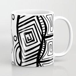 Four Waves - Freestyle Tribal Doodle Design Coffee Mug
