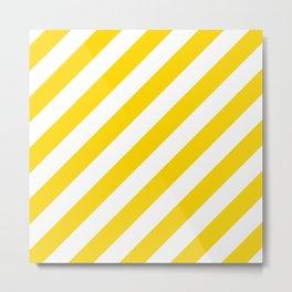 Diagonal Stripes (Gold/White) Metal Print