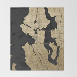 Seattle Black and Gold Street Map Throw Blanket
