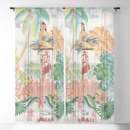 Vintage Hawaiian Travel Poster Sheer Curtain