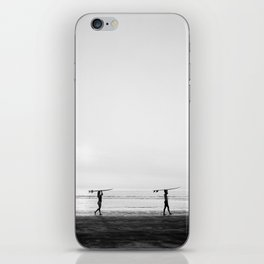 Surfer couple   Wanderlust photography of surfer couple   Coastal wall art. iPhone Skin