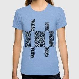 Checkerboard Detail, Black/White Abstract(ink drawing) T-shirt